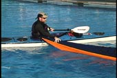 kayak and paddler upright