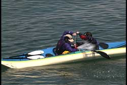 while resting on each others kayak they pump out each others kayak