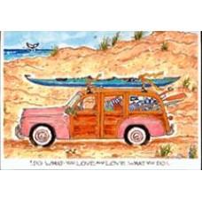 Kayak on Woody Note Cards